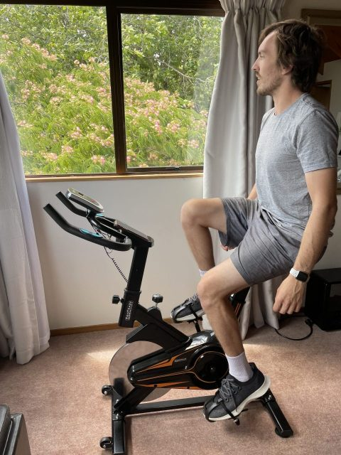 Sitting back is comfortable on this machine, and engages the core for balance
