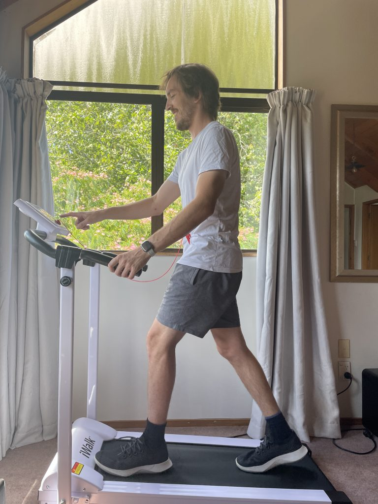 Powering on iWalk treadmill